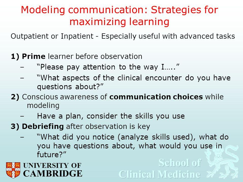 Modeling communication: Strategies for maximizing learning