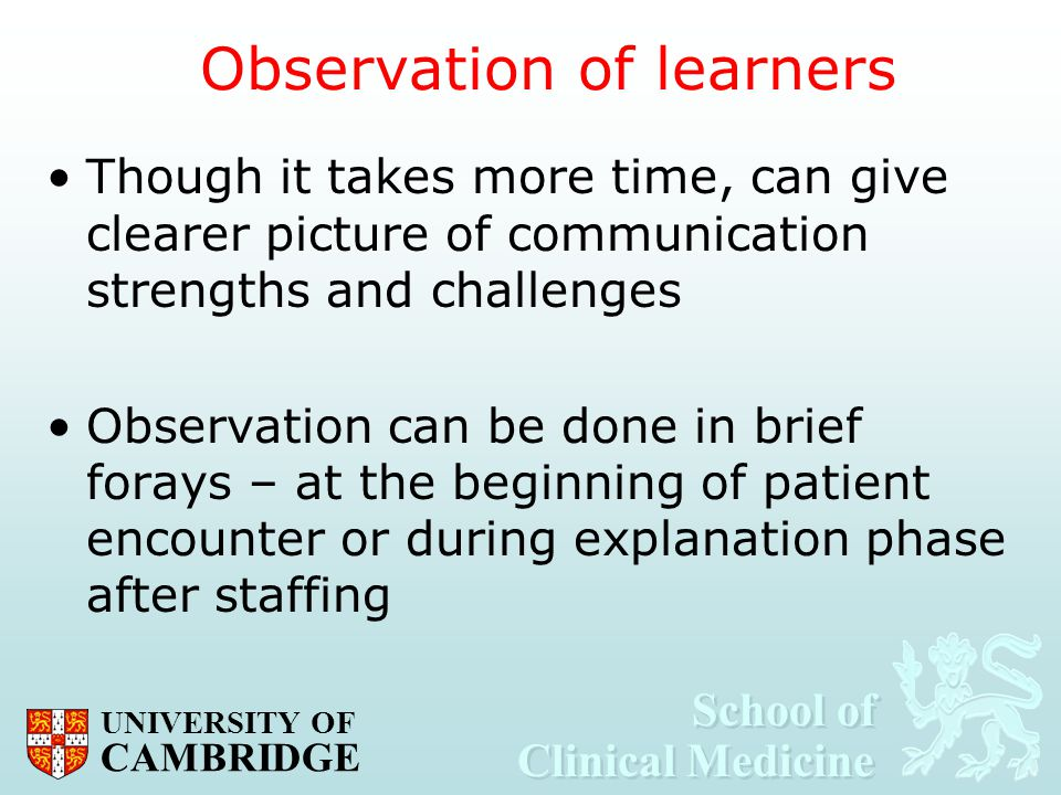 Observation of learners