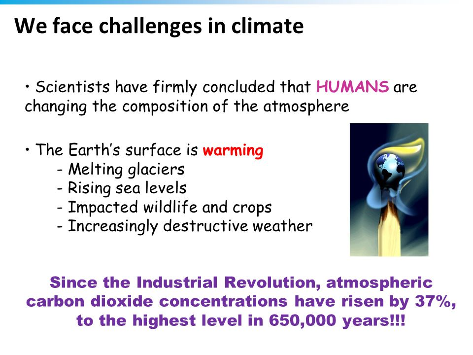 We face challenges in climate