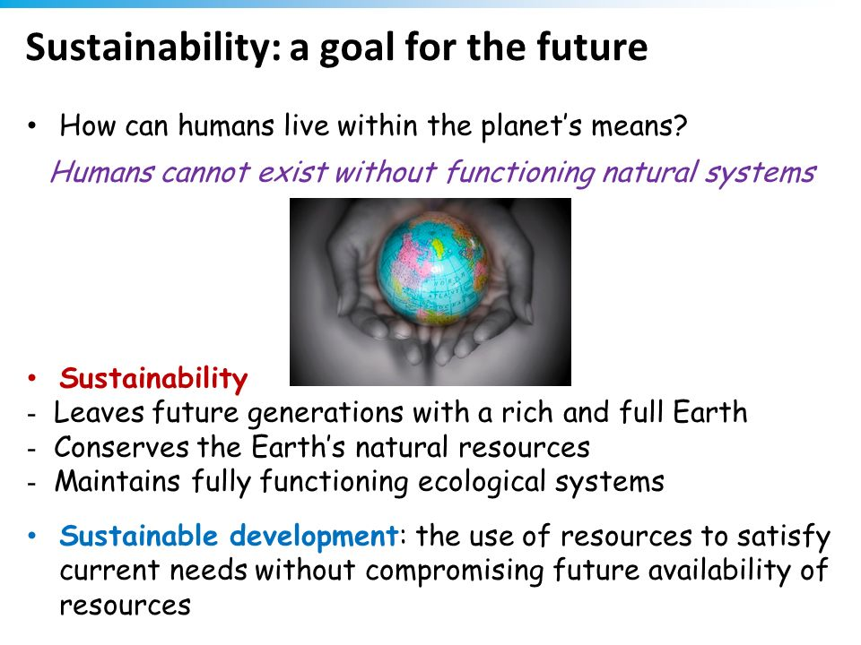 Sustainability: a goal for the future