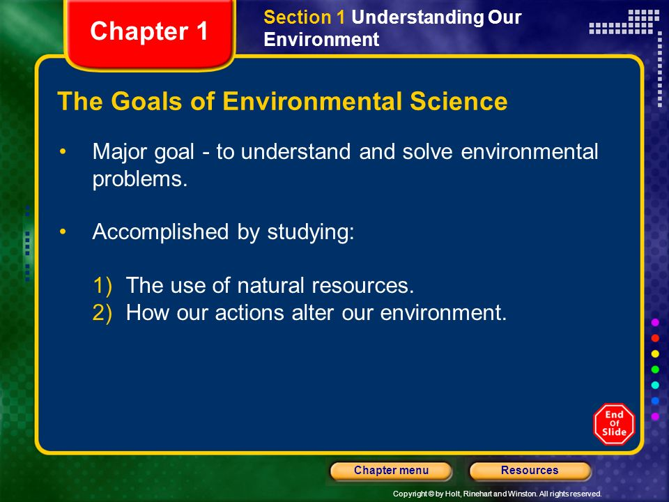 The Goals of Environmental Science
