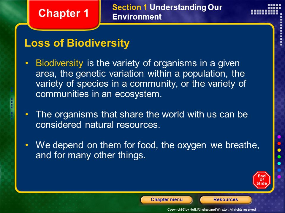 Chapter 1 Loss of Biodiversity