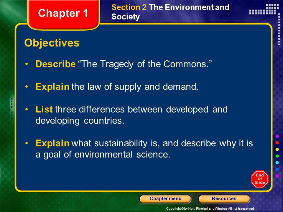 Chapter 1 Objectives Describe The Tragedy of the Commons.