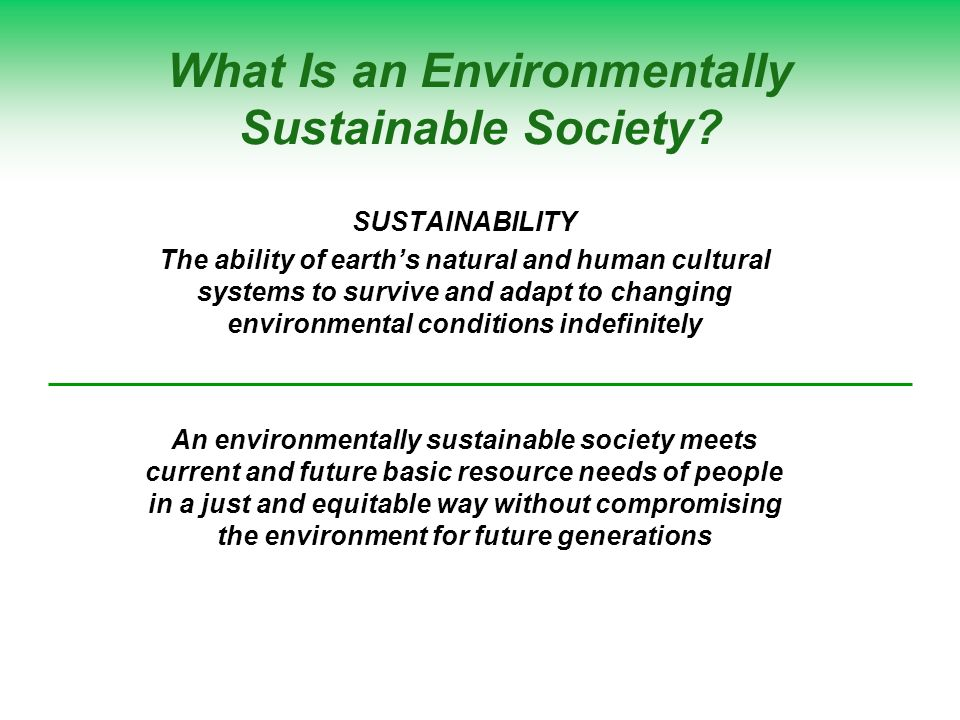 What Is an Environmentally Sustainable Society