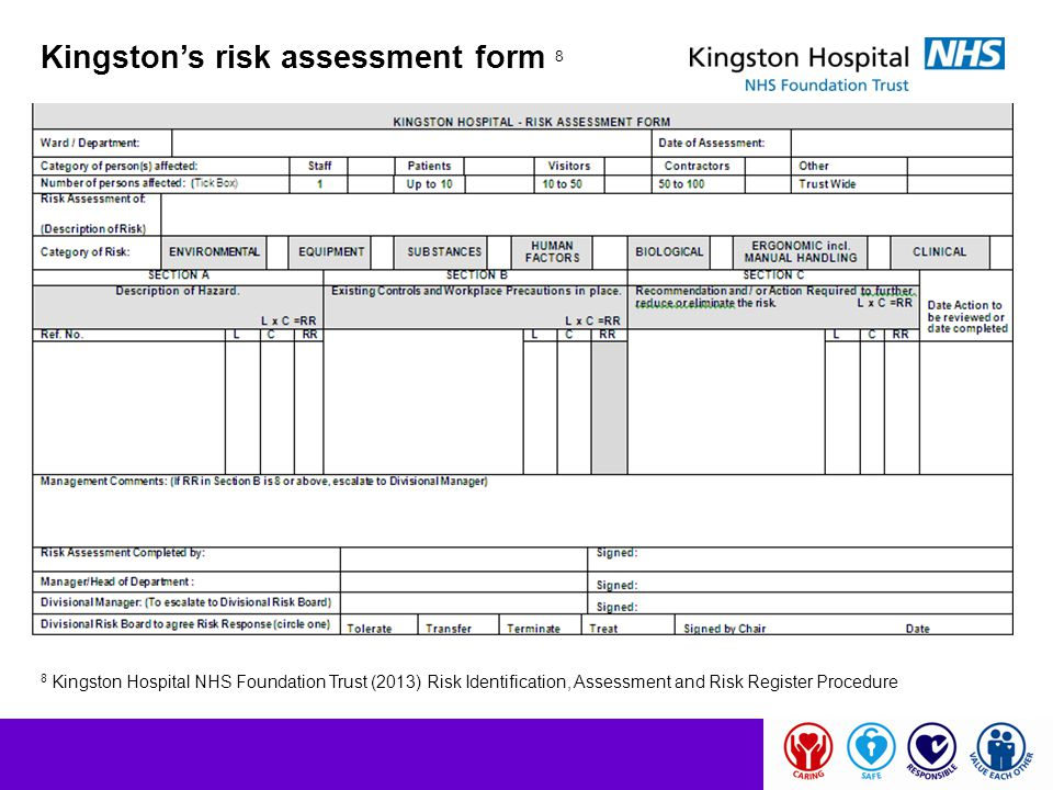 Kingston's risk assessment form 8