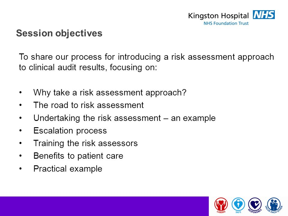 Session objectives To share our process for introducing a risk assessment approach to clinical audit results, focusing on: