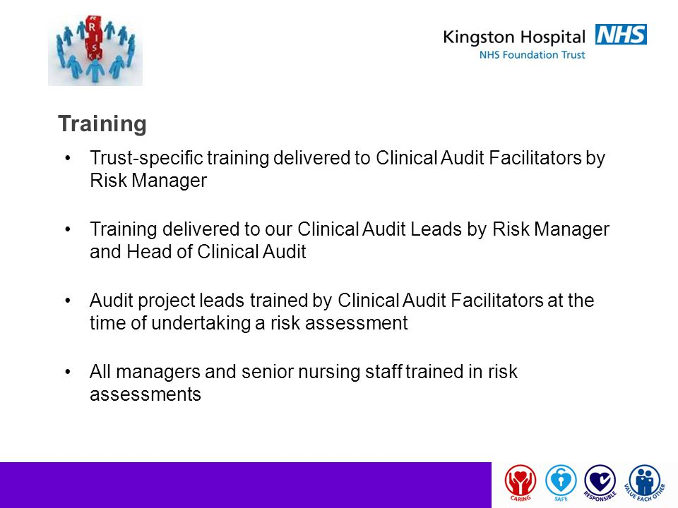 Training Trust-specific training delivered to Clinical Audit Facilitators by Risk Manager.