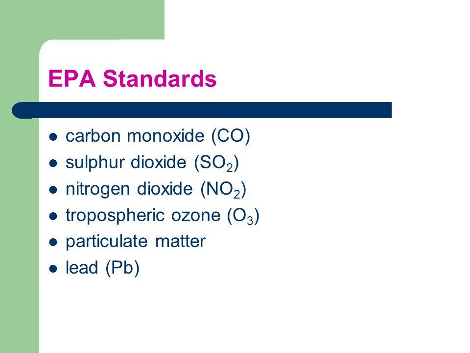 EPA Standards carbon monoxide (CO) sulphur dioxide (SO2)