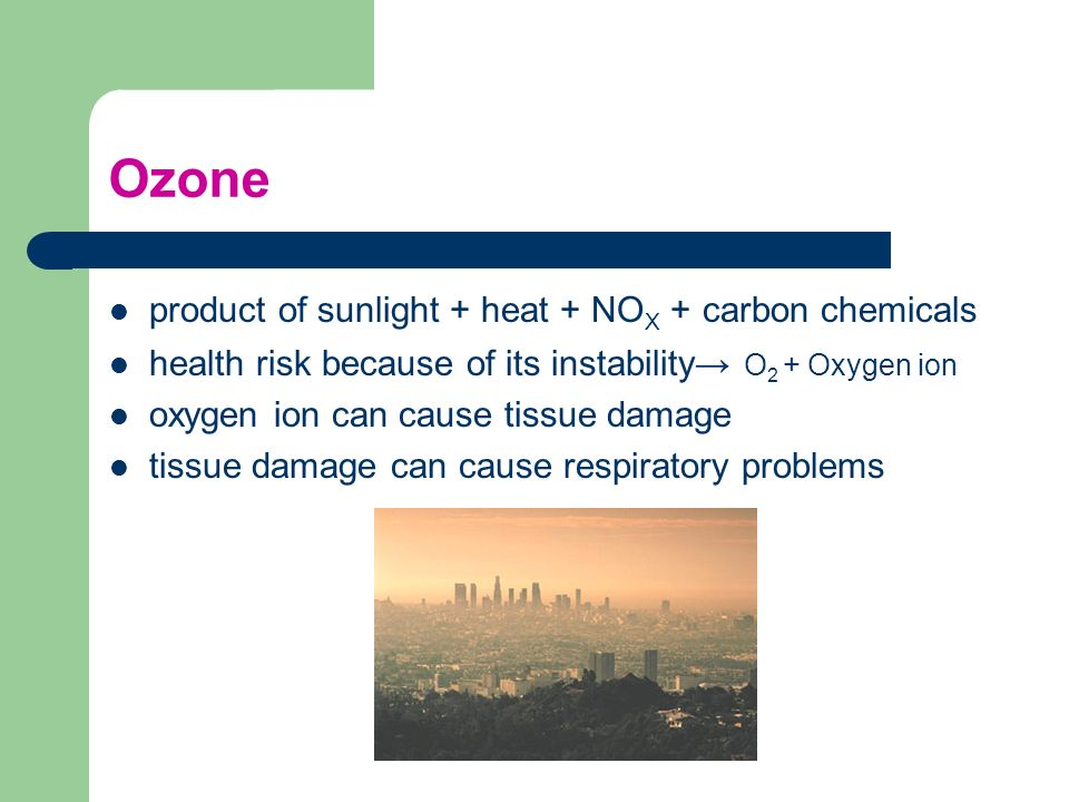 Ozone product of sunlight + heat + NOX + carbon chemicals