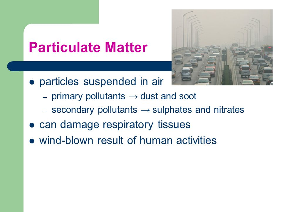 Particulate Matter particles suspended in air