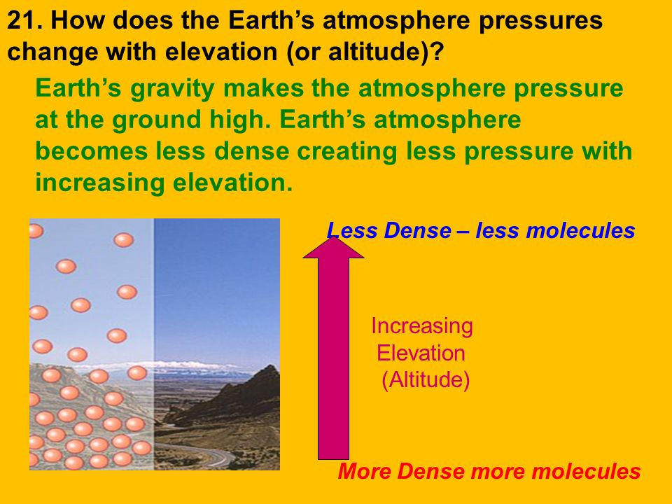 21. How does the Earth's atmosphere pressures change with elevation (or altitude)