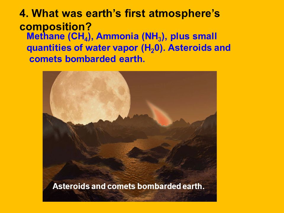 4. What was earth's first atmosphere's composition