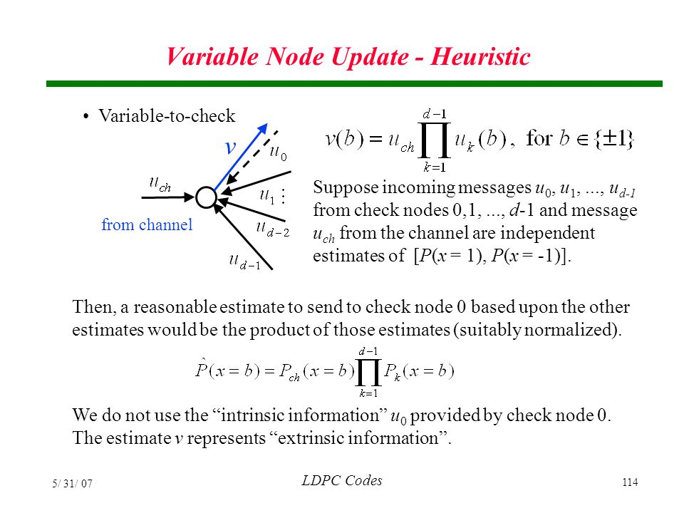 Variable Node Update - Heuristic