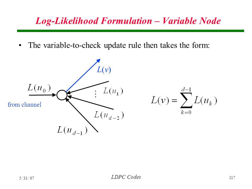 Log-Likelihood Formulation – Variable Node