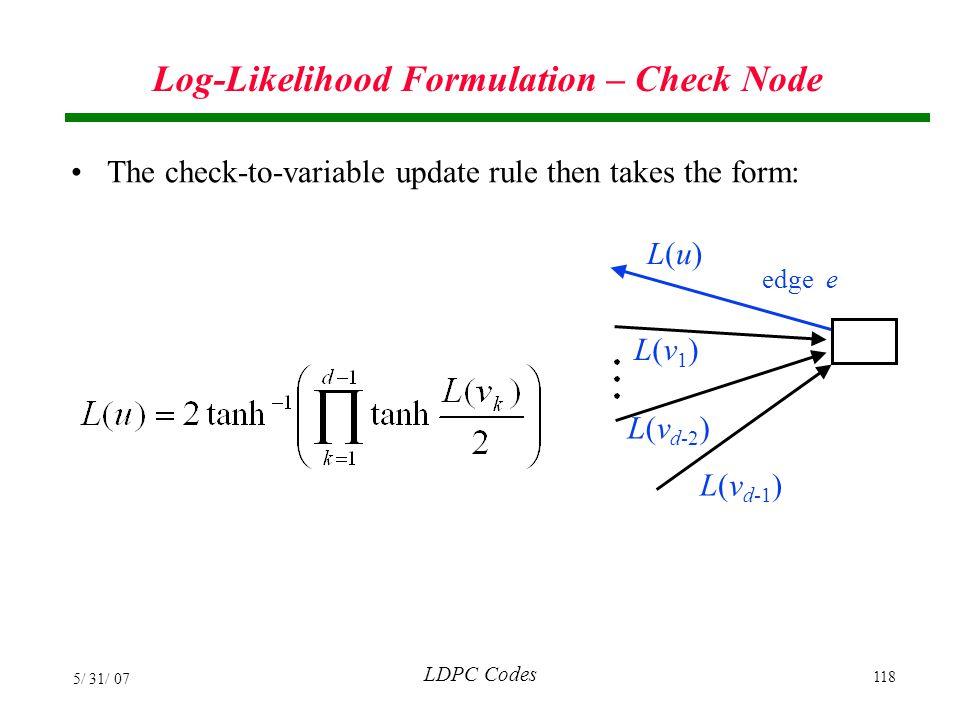 Log-Likelihood Formulation – Check Node