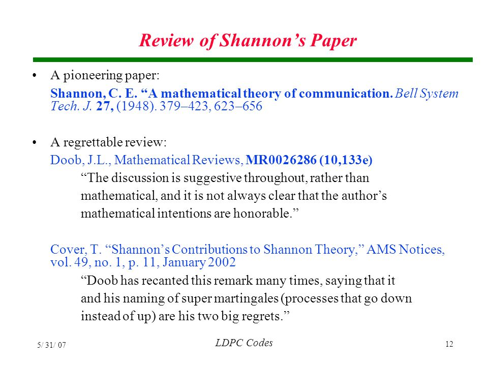 Review of Shannon's Paper