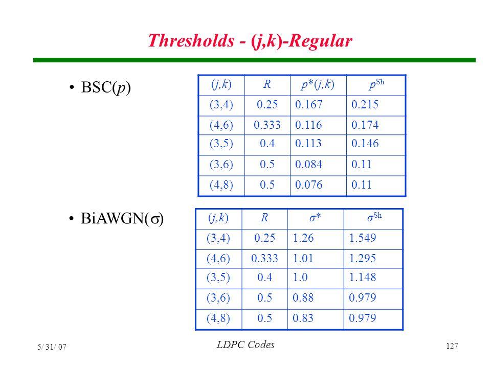 Thresholds - (j,k)-Regular
