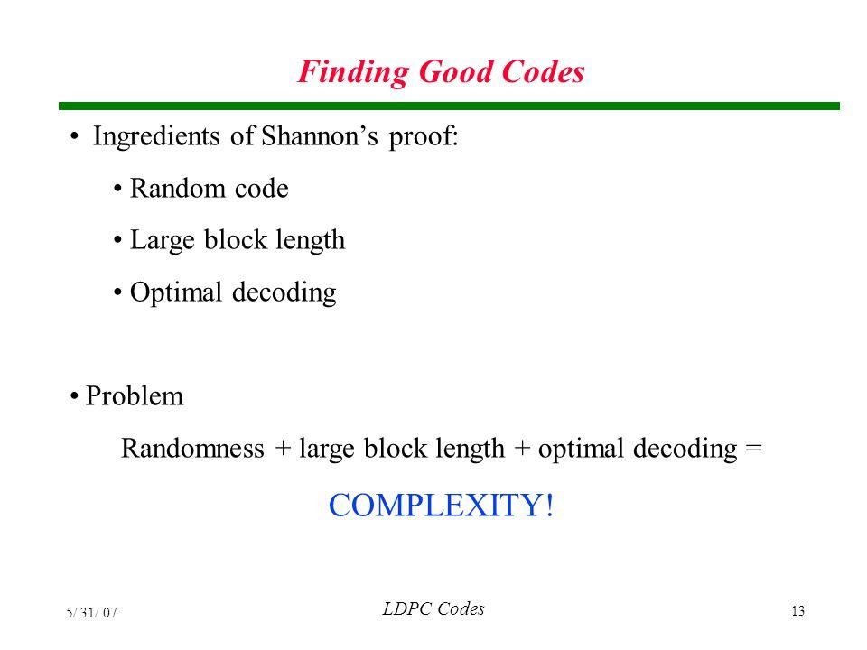 Randomness + large block length + optimal decoding =