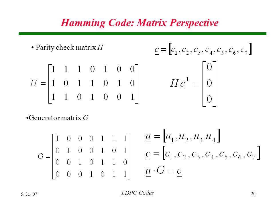 Hamming Code: Matrix Perspective