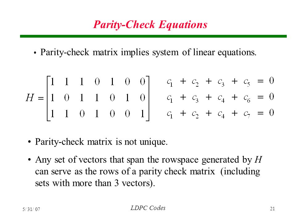 Parity-Check Equations
