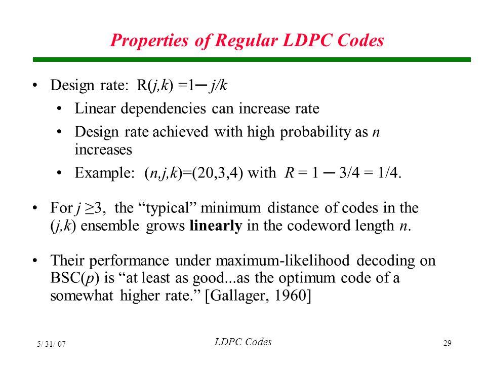 Properties of Regular LDPC Codes