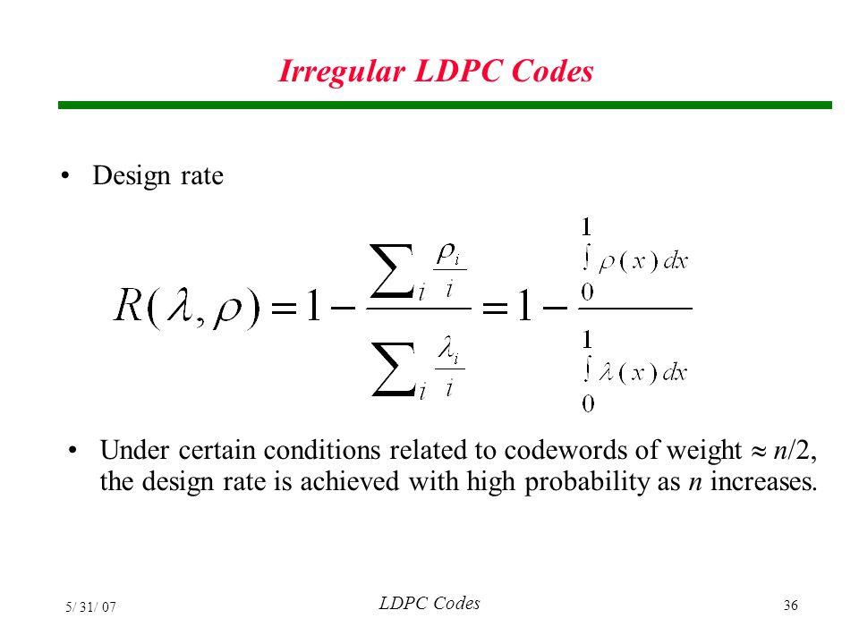 Irregular LDPC Codes Design rate