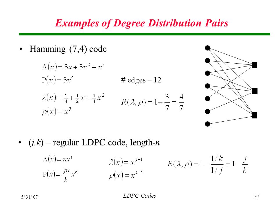 Examples of Degree Distribution Pairs