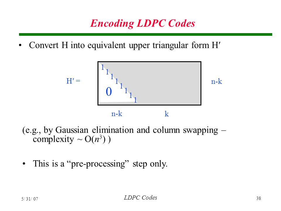 Encoding LDPC Codes Convert H into equivalent upper triangular form H′