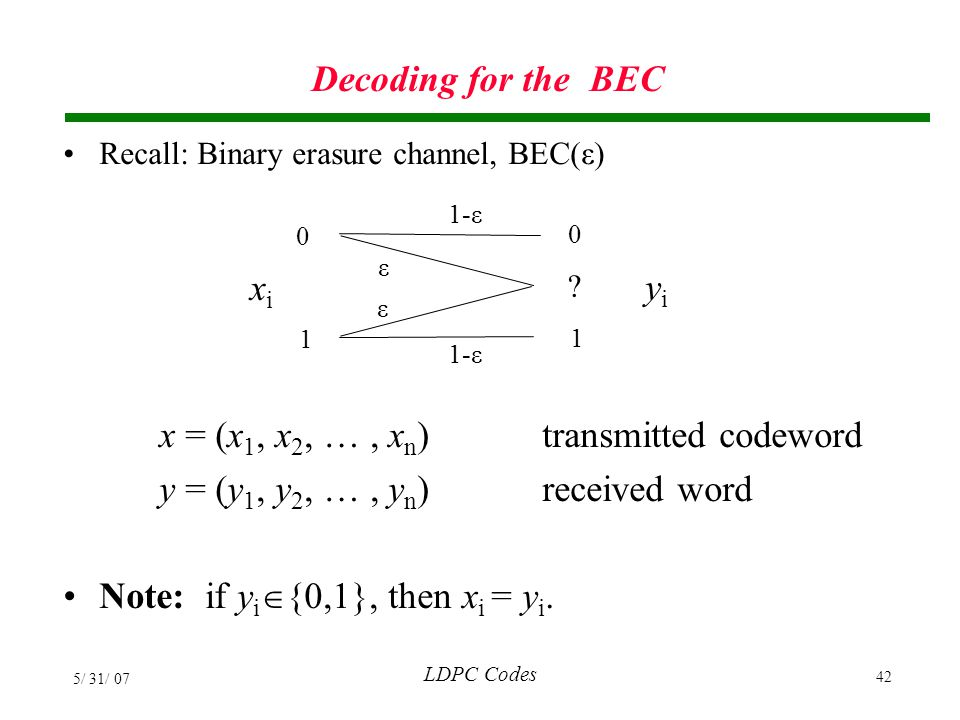 x = (x1, x2,  , xn) transmitted codeword