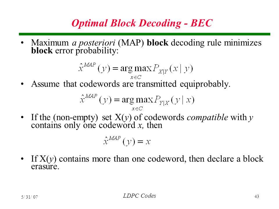 Optimal Block Decoding - BEC