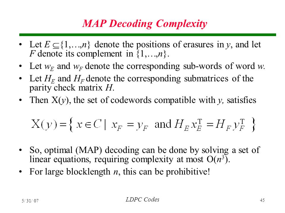 MAP Decoding Complexity