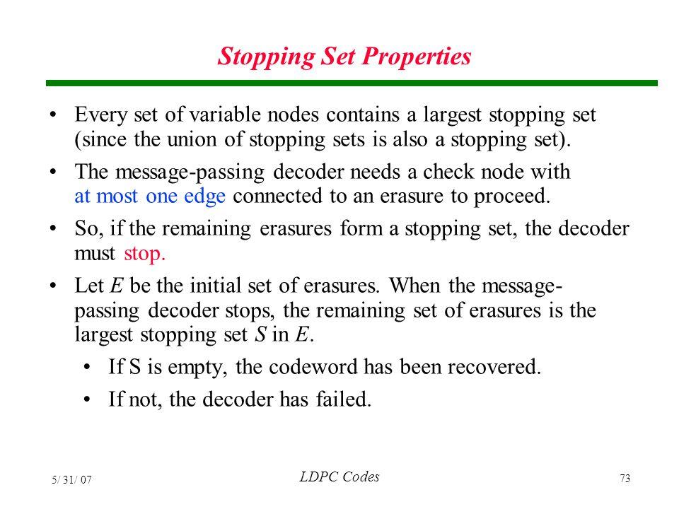 Stopping Set Properties