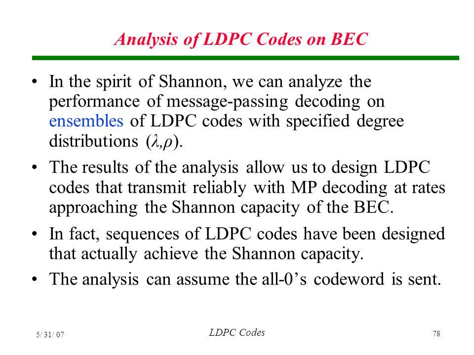 Analysis of LDPC Codes on BEC