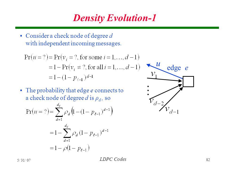 Density Evolution-1 u edge e