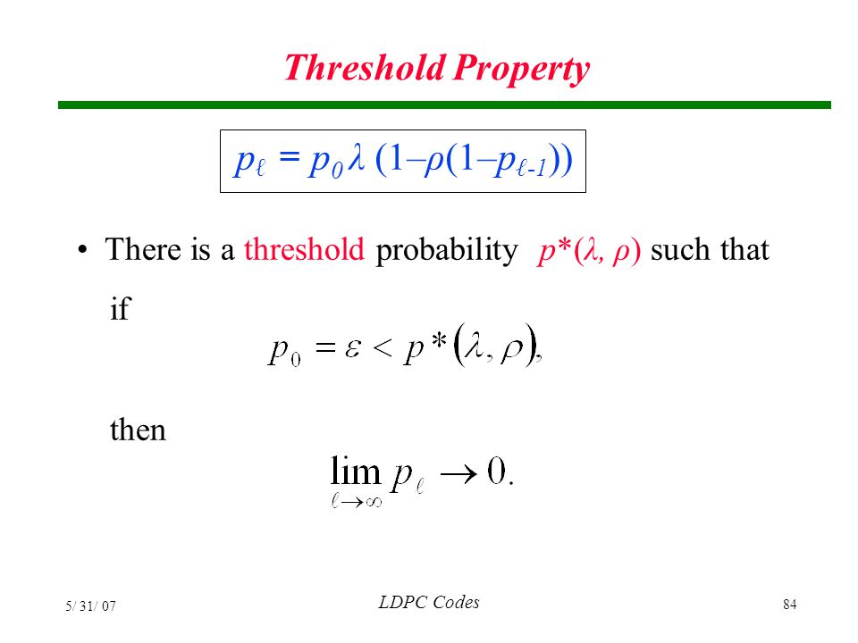 Threshold Property pℓ = p0 λ (1–ρ(1–pℓ-1))