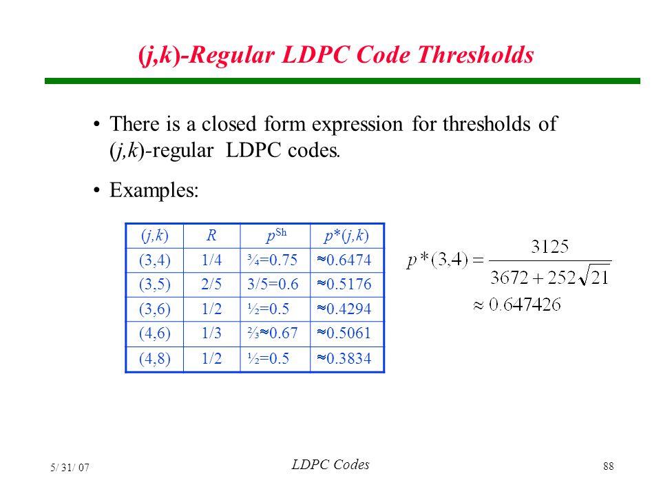 (j,k)-Regular LDPC Code Thresholds