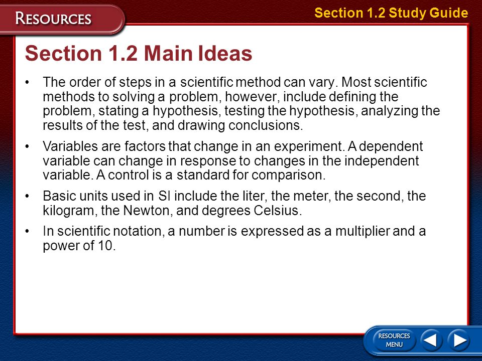 Section 1.2 Main Ideas Section 1.2 Study Guide