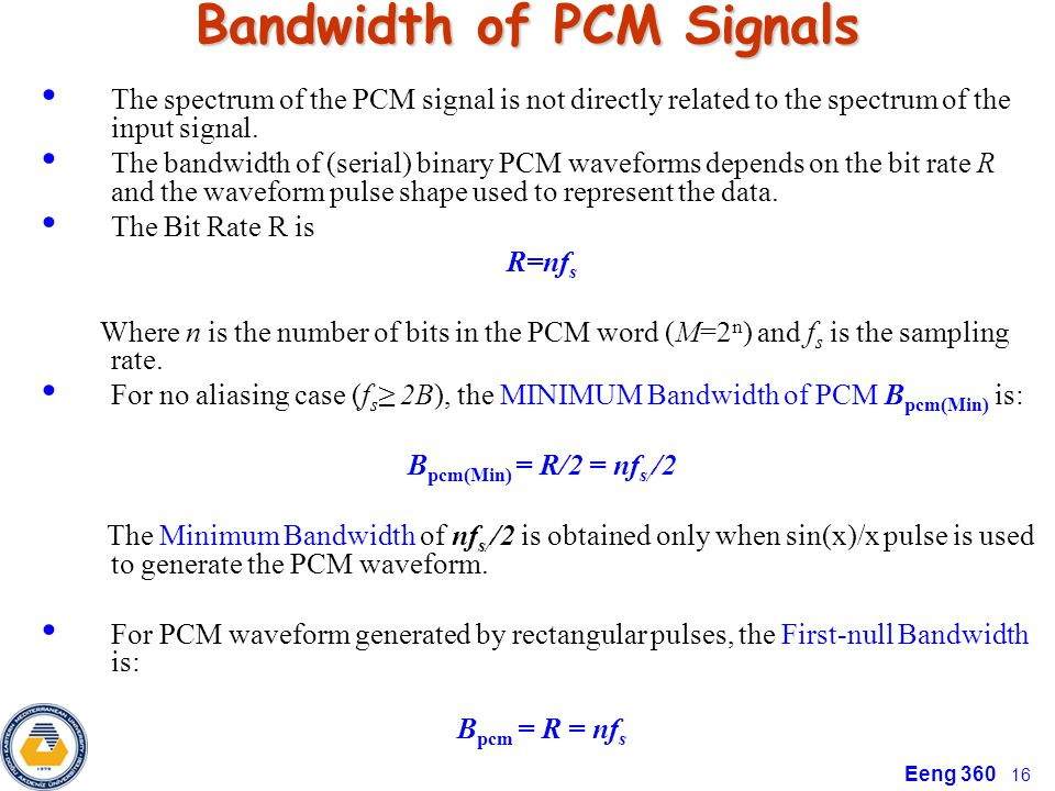 Bandwidth of PCM Signals