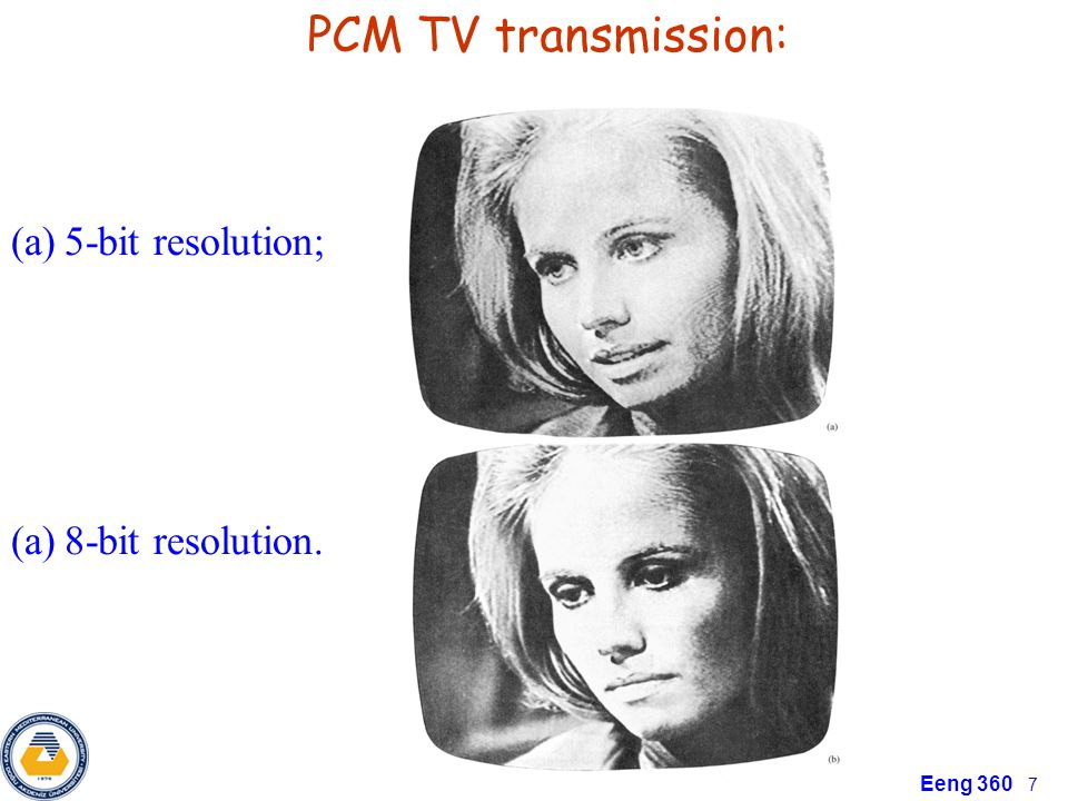 PCM TV transmission: 5-bit resolution; 8-bit resolution.