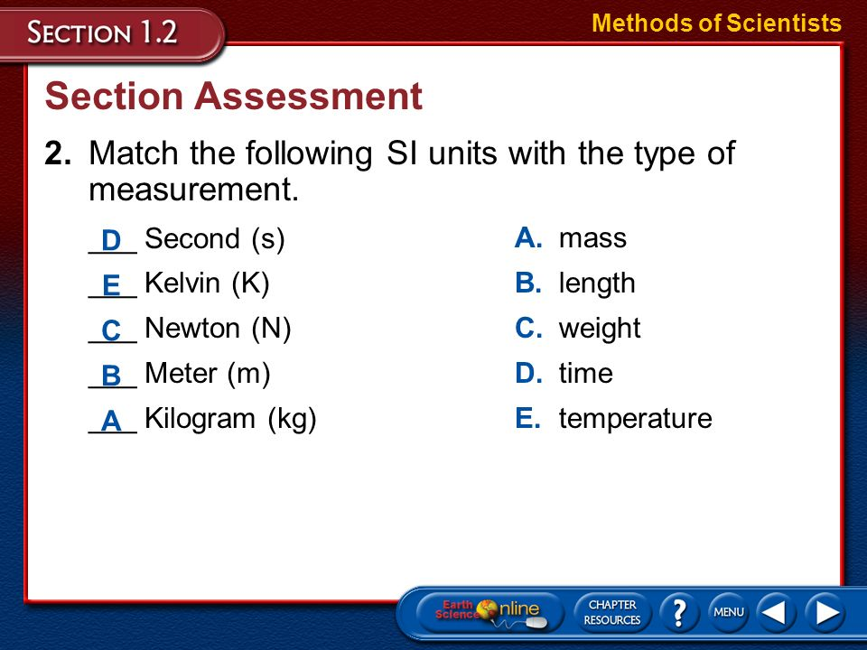 Methods of Scientists Section Assessment. 2. Match the following SI units with the type of measurement.