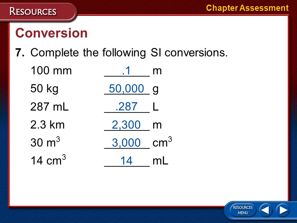 Conversion 7. Complete the following SI conversions. 100 mm _______ m