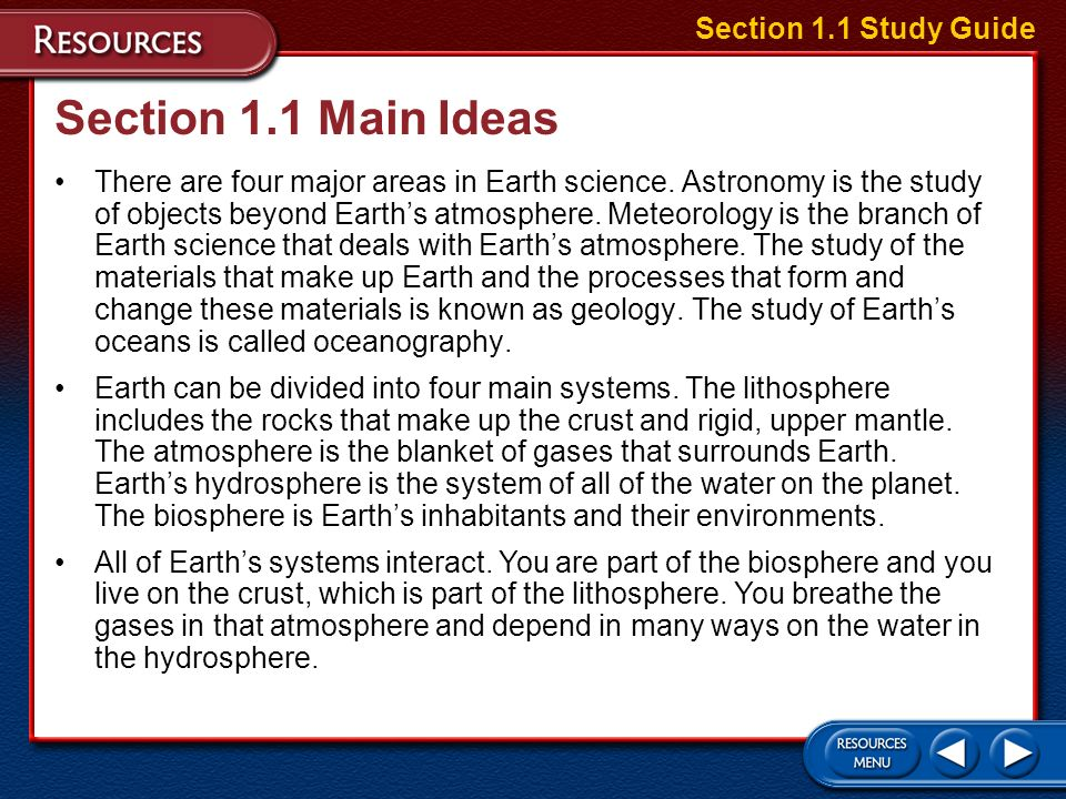 Section 1.1 Main Ideas Section 1.1 Study Guide