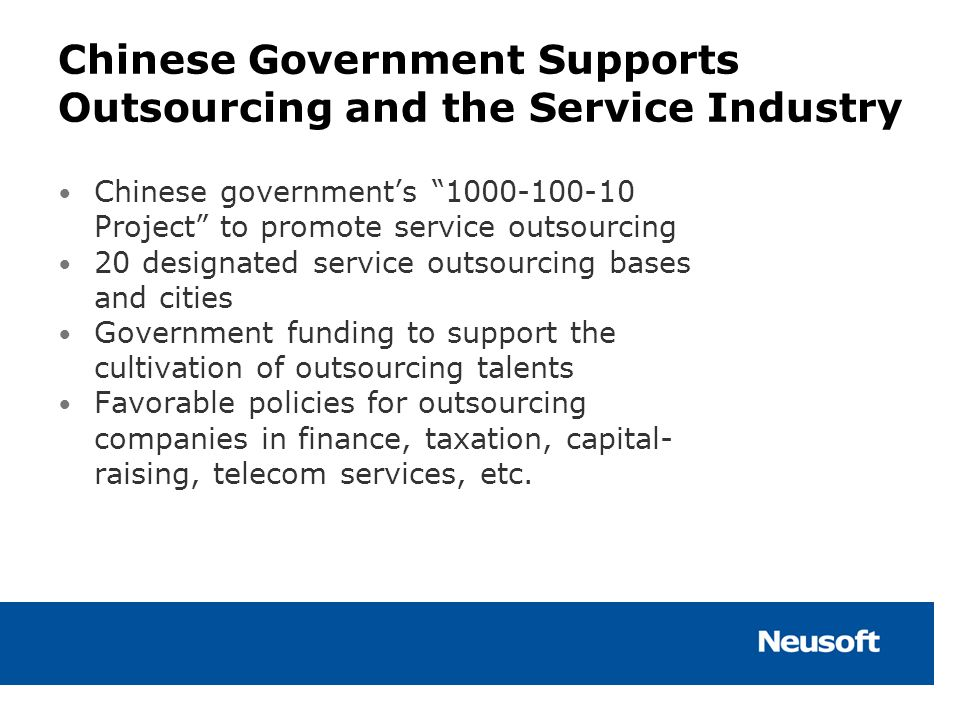 Chinese Government Supports Outsourcing and the Service Industry