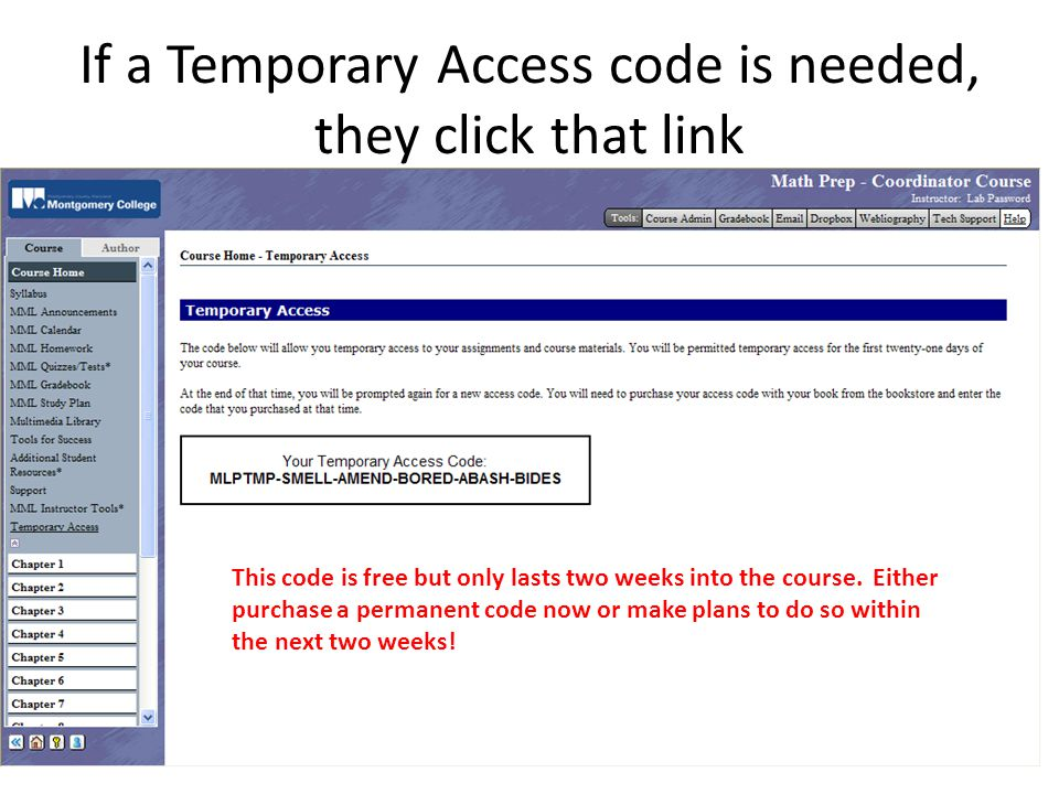 If a Temporary Access code is needed, they click that link