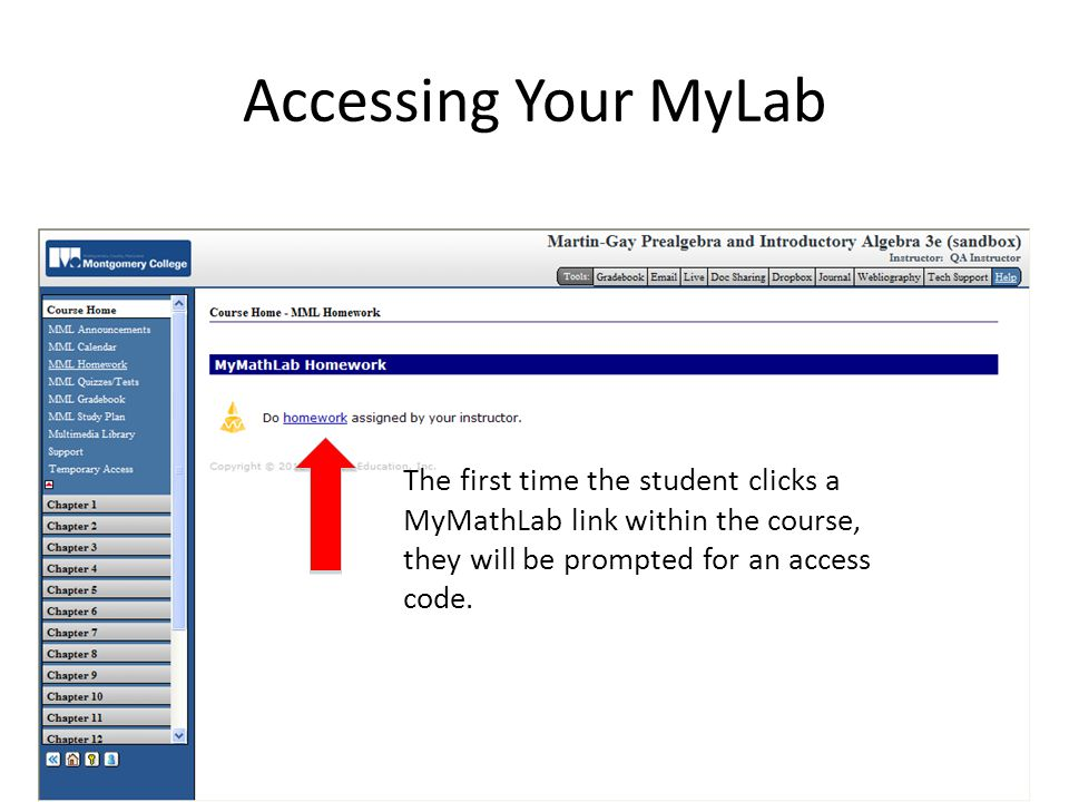 Accessing Your MyLab The first time the student clicks a MyMathLab link within the course, they will be prompted for an access code.