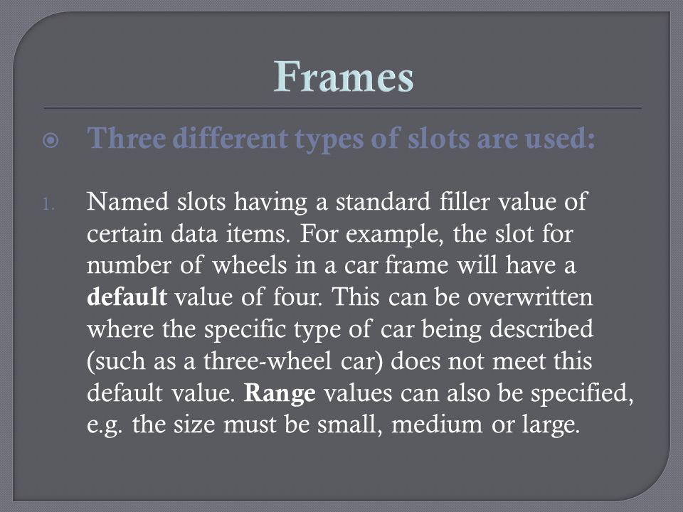 Frames Three different types of slots are used: