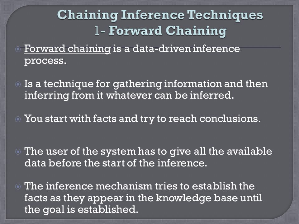 Chaining Inference Techniques 1- Forward Chaining