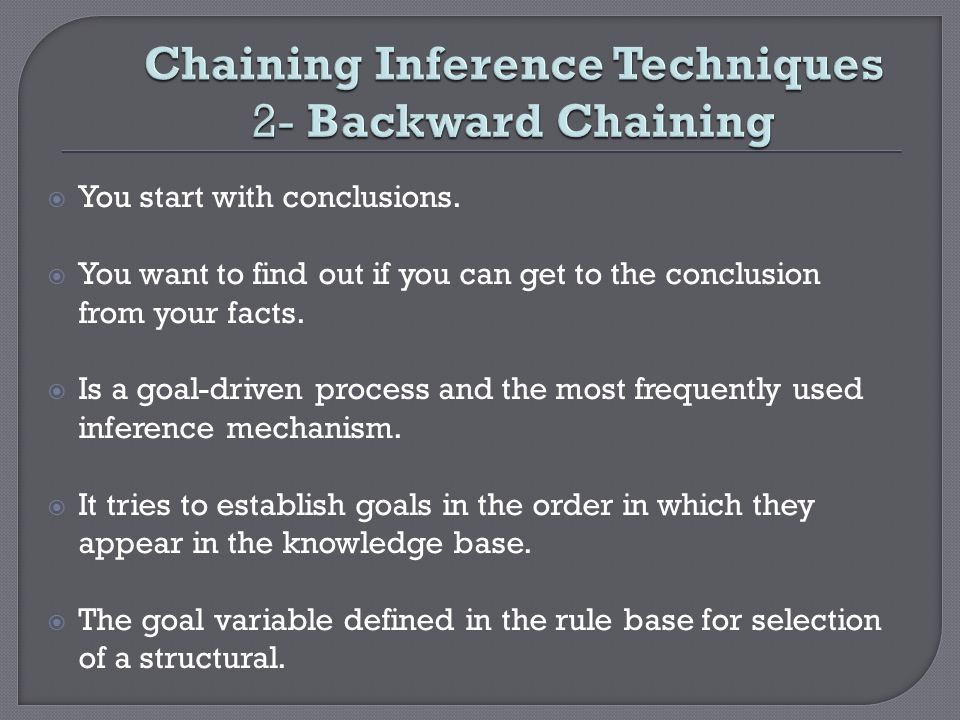 Chaining Inference Techniques 2- Backward Chaining