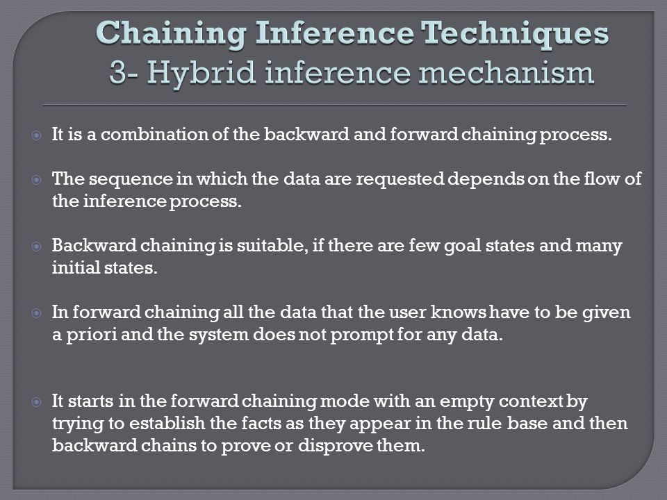 Chaining Inference Techniques 3- Hybrid inference mechanism