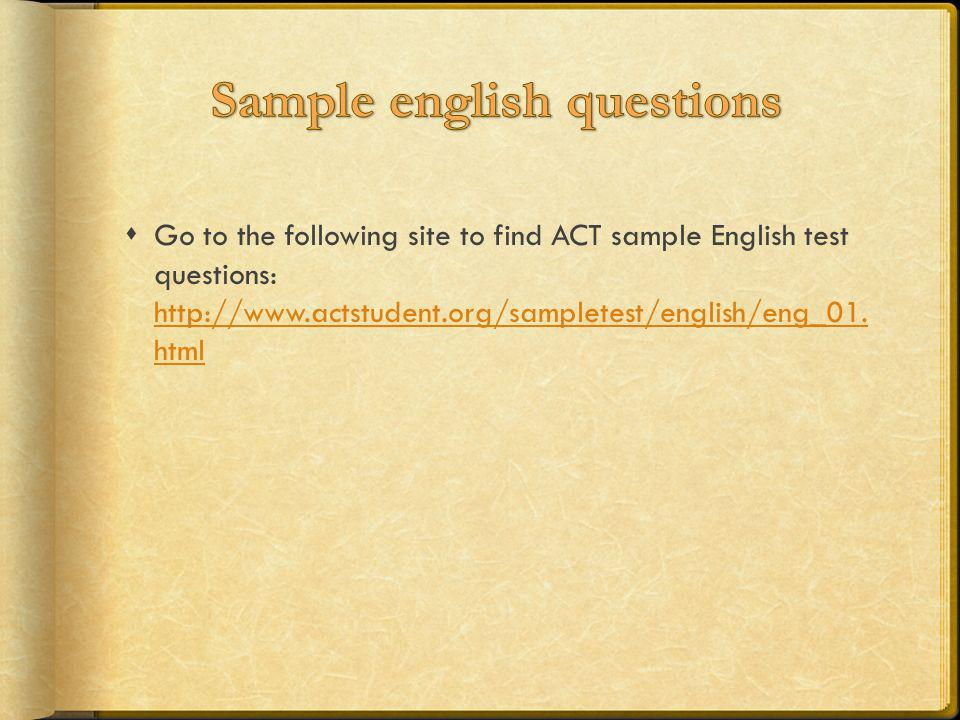 Sample english questions